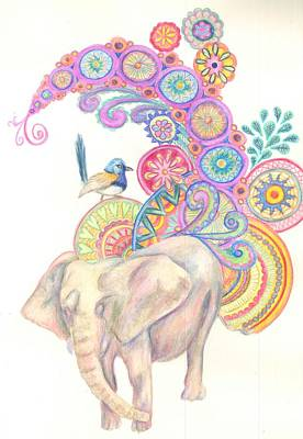 Painting - Dreamy Elephant And Bird by Cherie Sexsmith