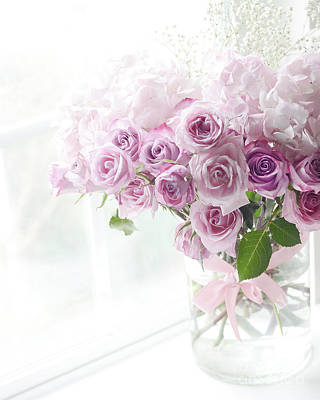 Floral Watercolor Photograph - Dreamy Ethereal Pink Lavender Shabby Chic Romantic Roses - Pastel Roses In Window by Kathy Fornal
