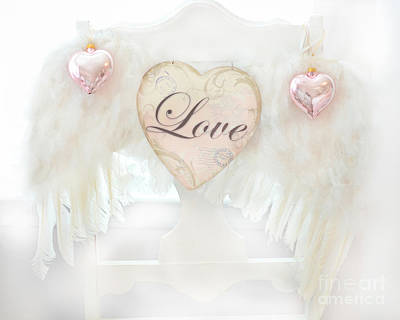 Photograph - Dreamy Ethereal White Angel Wings Romantic Love Heart - Valentine Love Heart Pink White Angel Wings  by Kathy Fornal
