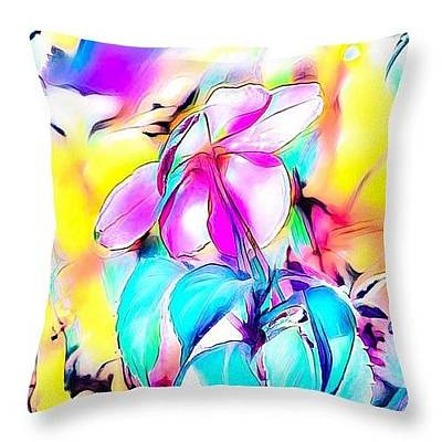 Digital Art - Dreamy Flower Throw Pillow by Gayle Price Thomas