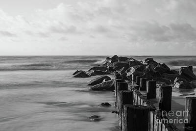 Photograph - Dreamy Folly Seawall Grayscale by Jennifer White