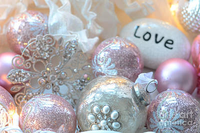 Pink And White Art Photograph - Dreamy Holiday Sparkling Ornaments Love Decor - Shabby Chic Pink White Sparkling Ornaments  by Kathy Fornal