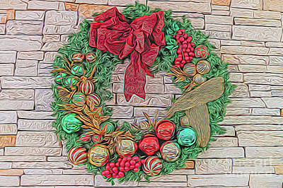 Digital Art - Dreamy Holiday Wreath by Ray Shiu