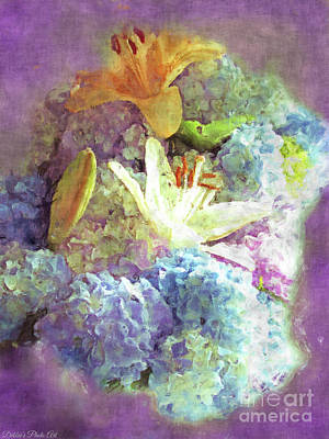 Digital Art - Dreamy Hydrangeas And Lilies - Digital Paint by Debbie Portwood