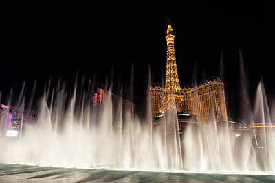Photograph - Dreamy Las Vegas - Paris And Ballys Behind A Soft Fountain Curtain by Georgia Mizuleva
