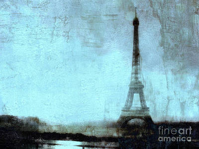 Dreamy Paris Eiffel Tower Aqua Teal Sky Blue Abstract  Print by Kathy Fornal
