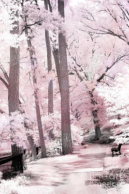 Dreamy Pink And White Infrared Park Woodlands- Infrared Pink Trees Park Bench Landscape Art Print by Kathy Fornal