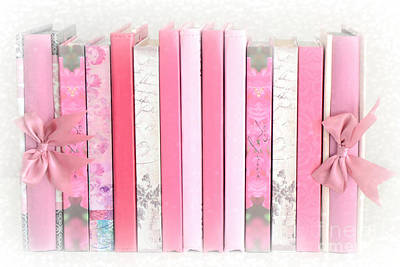 Art Book Photograph - Dreamy Romantic Pink Books Collection - Shabby Chic Cottage Baby Nursery Pastel Pink Books by Kathy Fornal