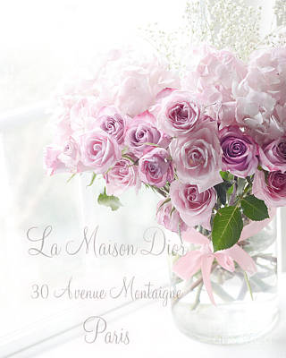 French Script Photograph - Dreamy Romantic Pink Lavender Roses In Window - Paris Romantic Roses French Decor by Kathy Fornal