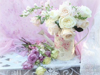 Cottage Floral Photograph - Dreamy Romantic Shabby Chic Spring Roses - Spring Romantic Bouquet Of Roses - Shabby Chic Floral Art by Kathy Fornal