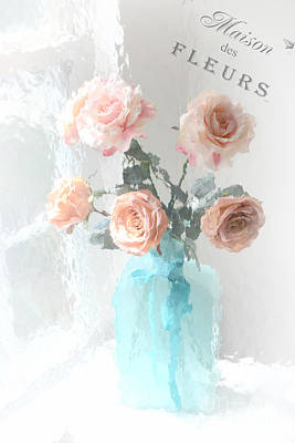 Dreamy Shabby Chic Paris Roses  - Paris French Floral Roses Teal Vase - Paris Roses French Script Art Print by Kathy Fornal
