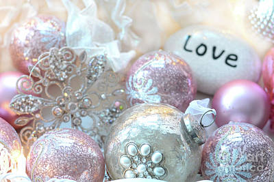Photograph - Dreamy Shabby Chic Pink Silver Sparkling Holiday Christmas Ornaments - Romantic Love Prints Decor by Kathy Fornal