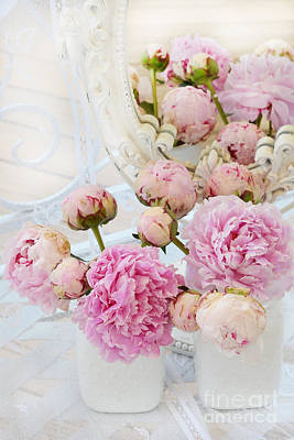 Pink And White Art Photograph - Dreamy Shabby Chic Romantic Peonies - Garden Peonies White Mason Jars by Kathy Fornal