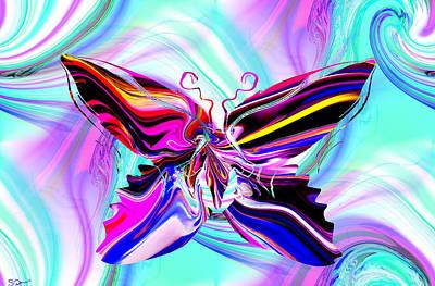 Dreamy Sky Butterfly Art Print by Abstract Angel Artist Stephen K