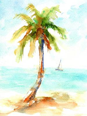 Painting - Dreamy Tropical Beach Palm by Carlin Blahnik CarlinArtWatercolor