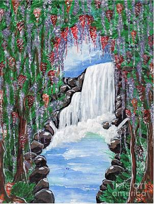 Painting - Dreamy Waterfall by Saranya Haridasan