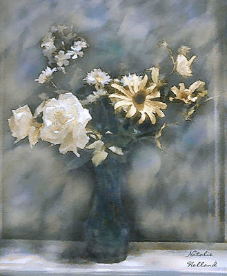 Country Cottage Mixed Media - Dreamy White Roses by Natalie Holland