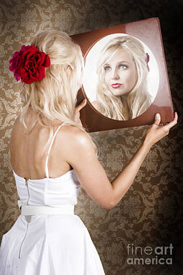Dreamy Woman Looking At Mirror Reflection Art Print