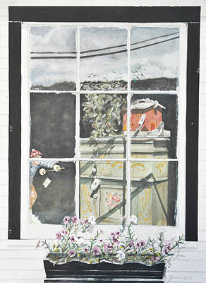 Painting - Dreary Day Corner Window by Jean Sumption