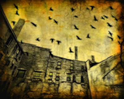 Crow In Flight Digital Art - Dreary Sky Looms Above by Gothicrow Images