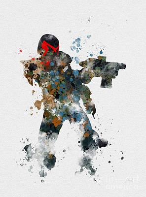 Sylvester Stallone Mixed Media - Dredd by Rebecca Jenkins