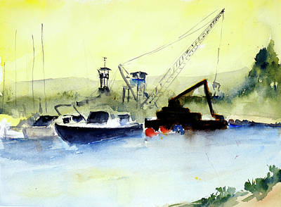 Painting - Dredging At Marin Yacht Club by Tom Simmons