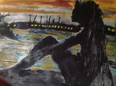 Wonder Woman Photograph - Dredlocks Woman Sitting By The Ocean by Love Art Wonders By God