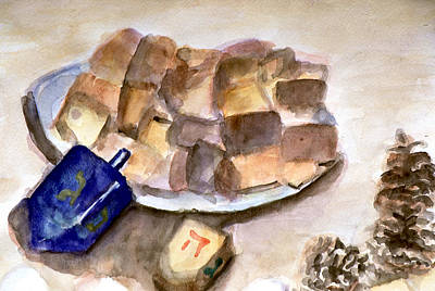 Painting - Dreidles Corn Cakes And Pine Cones by Rachel Rose