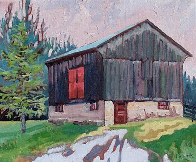 Watershed Painting - Drenched Barn by Phil Chadwick