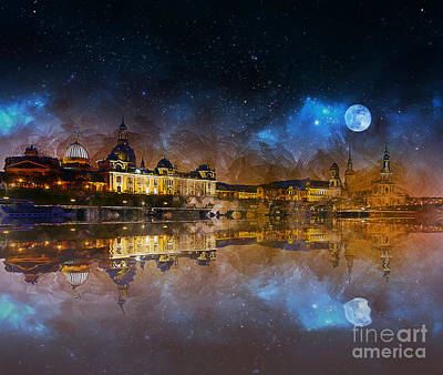 Mixed Media - Dresden At Night by Ian Mitchell