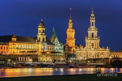Popstar And Musician Paintings Royalty Free Images - Dresden Cathedral with the river Elbe Royalty-Free Image by Henk Meijer Photography