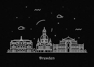 Abstract Landscape Drawing - Dresden Skyline Travel Poster by Inspirowl Design