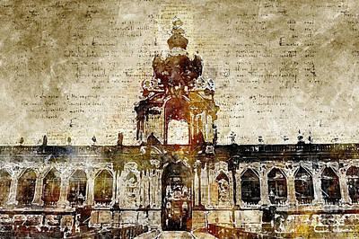 Digital Art - Dresden Zwinger Modern And Abstract by Michael Kuelbel