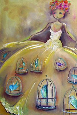 Bir Painting - Dress Of Birdcages by Jenna Fournier