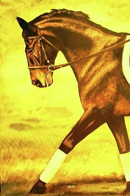 Dressage Horse Caper Yellow Art Print