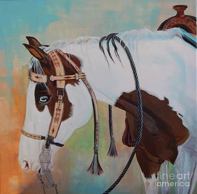 Tri Color Horse Painting - Dressed In His Best by Patty Stern