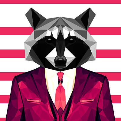 Raccoon Digital Art - Dressed Raccoon by Gallini Design