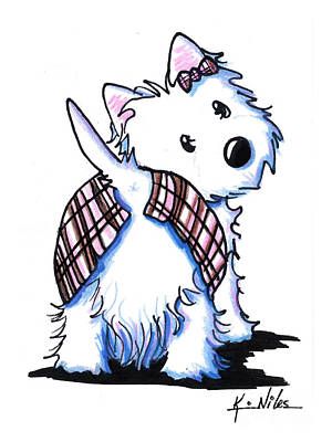 White Terrier Drawing - Dressed To Kilt Westie by Kim Niles