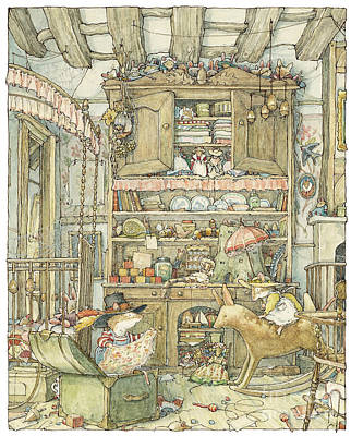 Mouse Drawing - Dressing Up At The Old Oak Palace by Brambly Hedge