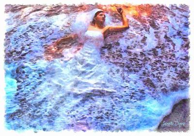 Hippopotamus Digital Art - Dressing Waves - Pa by Leonardo Digenio
