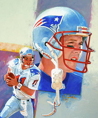 Drew Bledsoe Art Print by Cliff Spohn