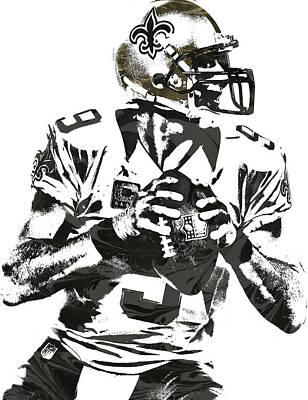 Football Mixed Media - Drew Brees New Orleans Saints Pixel Art 2 by Joe Hamilton