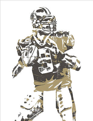 News Mixed Media - Drew Brees New Orleans Saints Pixel Art 6 by Joe Hamilton