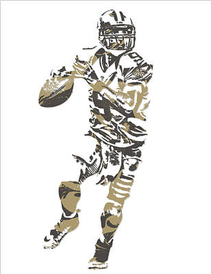News Mixed Media - Drew Brees New Orleans Saints Pixel Art 8 by Joe Hamilton