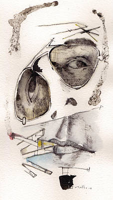 Fear Mixed Media - Dr.gonzo As Hunter S. Thompson by Mark M  Mellon
