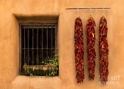 Ristra Digital Art - Dried Chilis And Window by Jerry Fornarotto