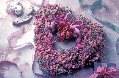 Dried Flower Heart Wreath Art Print by Garry Gay
