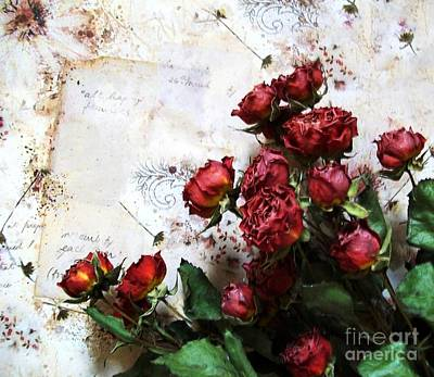 Dried Flowers Against Wallpaper Art Print by Marsha Heiken
