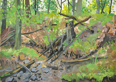 Painting - Dried Out Creek, Summer Forest Landscape by Martin Stankewitz