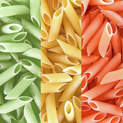 Dried Pasta In Italian Flag Colors Art Print by Germano Poli